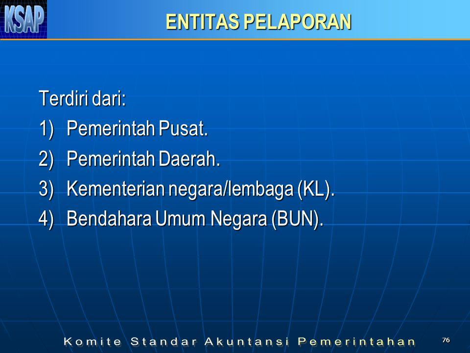7676 ENTITAS PELAPORAN Terdiri dari: 1) Pemerintah Pusat. 2) Pemerintah Daerah. 3) Kementerian negara/lembaga (KL). 4) Bendahara Umum Negara (BUN).