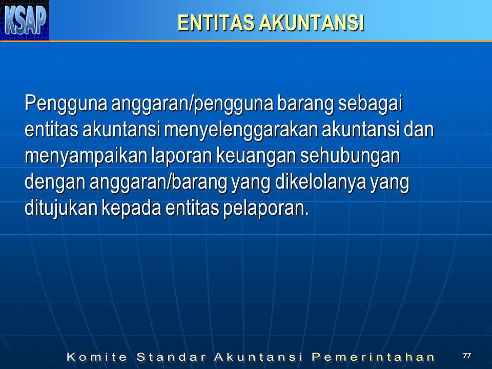 7777 ENTITAS AKUNTANSI Pengguna anggaran/pengguna barang sebagai entitas akuntansi menyelenggarakan akuntansi dan menyampaikan laporan keuangan sehubu