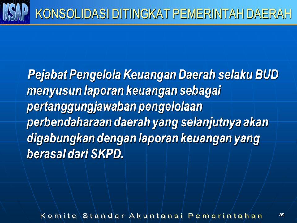 8585 KONSOLIDASI DITINGKAT PEMERINTAH DAERAH Pejabat Pengelola Keuangan Daerah selaku BUD menyusun laporan keuangan sebagai pertanggungjawaban pengelo