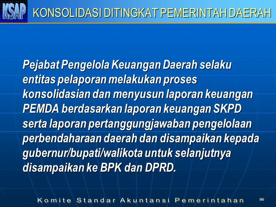 8686 KONSOLIDASI DITINGKAT PEMERINTAH DAERAH Pejabat Pengelola Keuangan Daerah selaku entitas pelaporan melakukan proses konsolidasian dan menyusun la