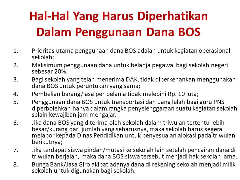 Hal-Hal Yang Harus Diperhatikan Dalam Penggunaan Dana BOS 1.Prioritas utama penggunaan dana BOS adalah untuk kegiatan operasional sekolah; 2.Maksimum penggunaan dana untuk belanja pegawai bagi sekolah negeri sebesar 20%.