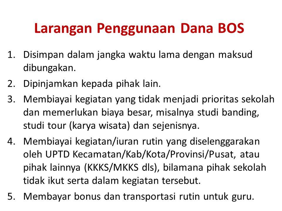 Larangan Penggunaan Dana BOS 1.Disimpan dalam jangka waktu lama dengan maksud dibungakan.
