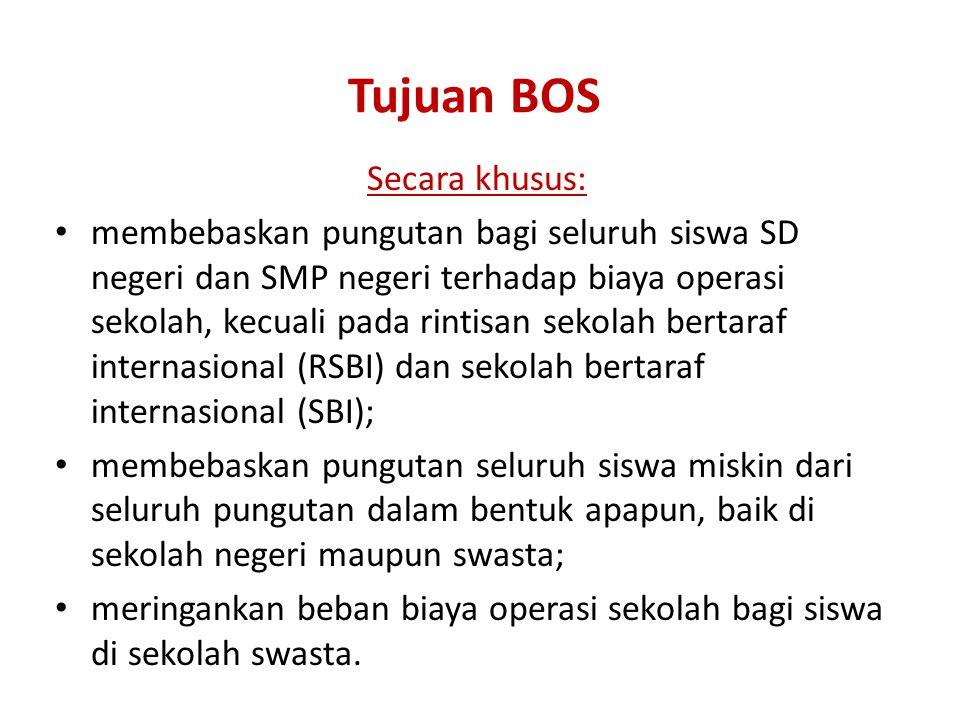 Sasaran • Sasaran program BOS adalah semua sekolah setingkat SD dan SMP (termasuk SMPT), baik negeri maupun swasta di seluruh propinsi di Indonesia.