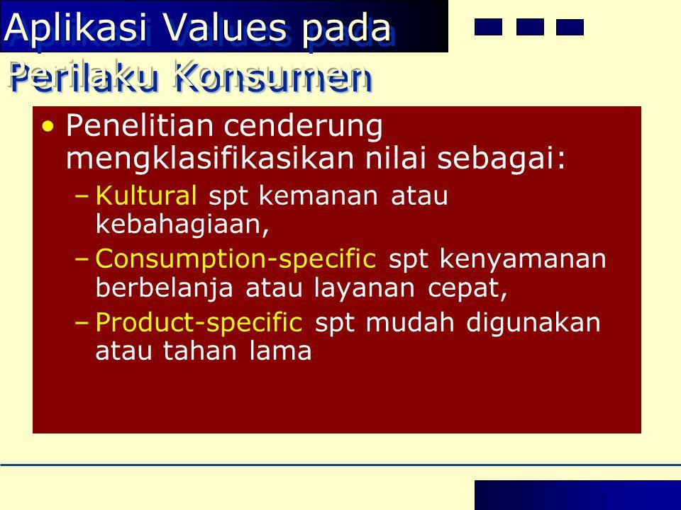 Perilaku Konsumen Aplikasi Values pada Perilaku Konsumen •Penelitian cenderung mengklasifikasikan nilai sebagai: –Kultural spt kemanan atau kebahagiaan, –Consumption-specific spt kenyamanan berbelanja atau layanan cepat, –Product-specific spt mudah digunakan atau tahan lama