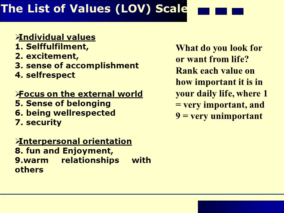  Individual values 1. Self­fulfilment, 2. excitement, 3. sense of accomplishment 4. self­respect  Focus on the external world 5. Sense of belonging