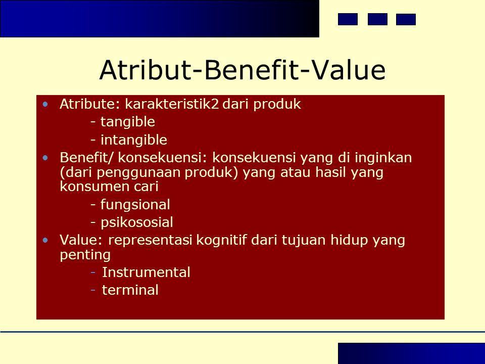 Atribut-Benefit-Value •Atribute: karakteristik2 dari produk - tangible - intangible •Benefit/ konsekuensi: konsekuensi yang di inginkan (dari penggunaan produk) yang atau hasil yang konsumen cari - fungsional - psikososial •Value: representasi kognitif dari tujuan hidup yang penting -Instrumental -terminal