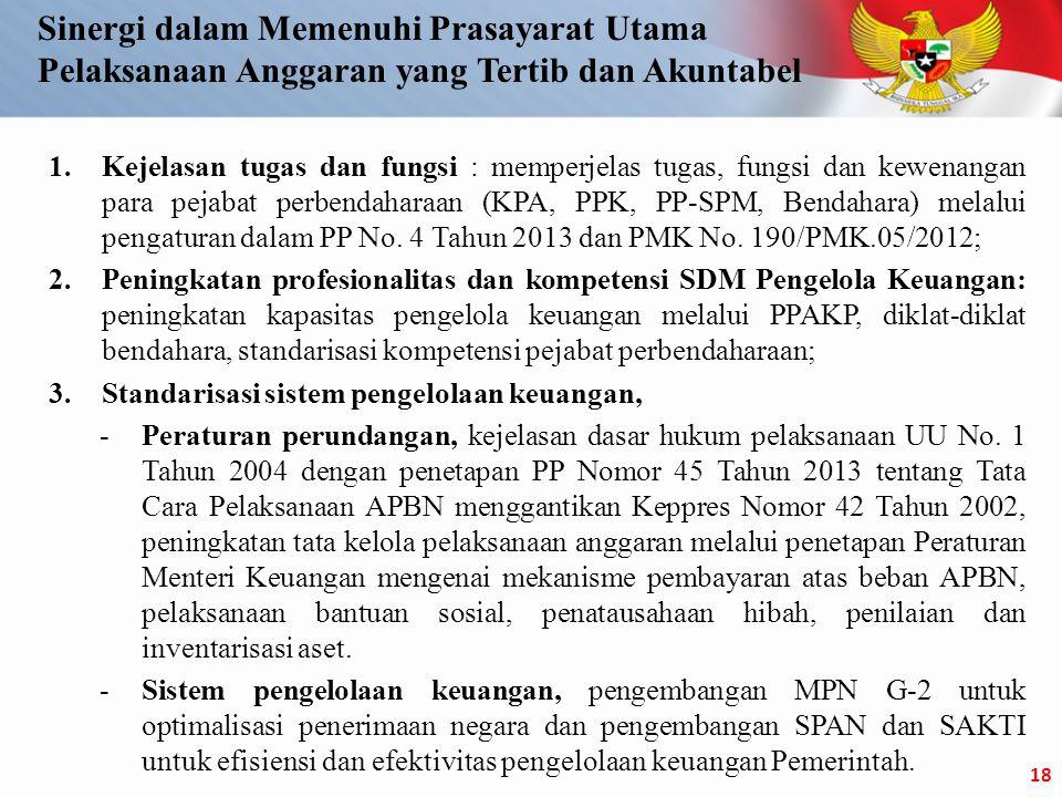 1.Kejelasan tugas dan fungsi : memperjelas tugas, fungsi dan kewenangan para pejabat perbendaharaan (KPA, PPK, PP-SPM, Bendahara) melalui pengaturan dalam PP No.