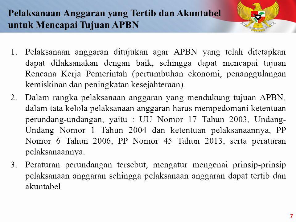1.Pelaksanaan anggaran ditujukan agar APBN yang telah ditetapkan dapat dilaksanakan dengan baik, sehingga dapat mencapai tujuan Rencana Kerja Pemerintah (pertumbuhan ekonomi, penanggulangan kemiskinan dan peningkatan kesejahteraan).