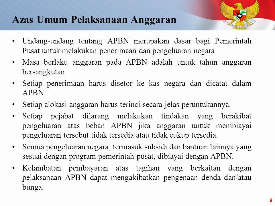 •Undang-undang tentang APBN merupakan dasar bagi Pemerintah Pusat untuk melakukan penerimaan dan pengeluaran negara.