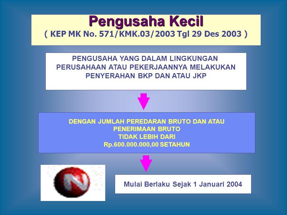 Pengusaha Kecil ( KEP MK No. 571/KMK.03/2003 Tgl 29 Des 2003 ) PENGUSAHA YANG DALAM LINGKUNGAN PERUSAHAAN ATAU PEKERJAANNYA MELAKUKAN PENYERAHAN BKP D