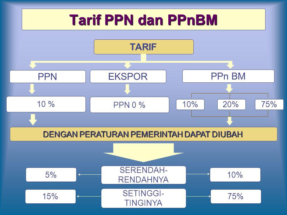 Tarif PPN dan PPnBM PPN PPn BM 10 % 20%75% DENGAN PERATURAN PEMERINTAH DAPAT DIUBAH 5% TARIF 10% 15%75% SERENDAH- RENDAHNYA SETINGGI- TINGINYA EKSPOR