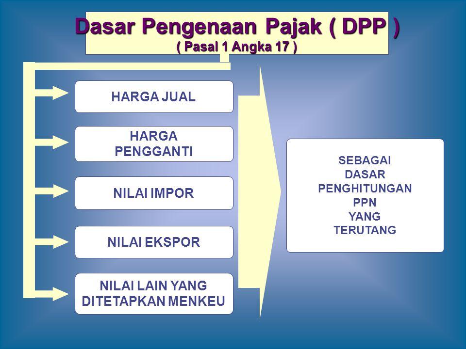 Dasar Pengenaan Pajak ( DPP ) ( Pasal 1 Angka 17 ) HARGA JUAL HARGA PENGGANTI NILAI IMPOR NILAI EKSPOR NILAI LAIN YANG DITETAPKAN MENKEU SEBAGAI DASAR