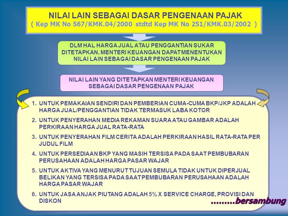 NILAI LAIN SEBAGAI DASAR PENGENAAN PAJAK ( Kep MK No 567/KMK.04/2000 stdtd Kep MK No 251/KMK.03/2002 ) 1.UNTUK PEMAKAIAN SENDIRI DAN PEMBERIAN CUMA-CU