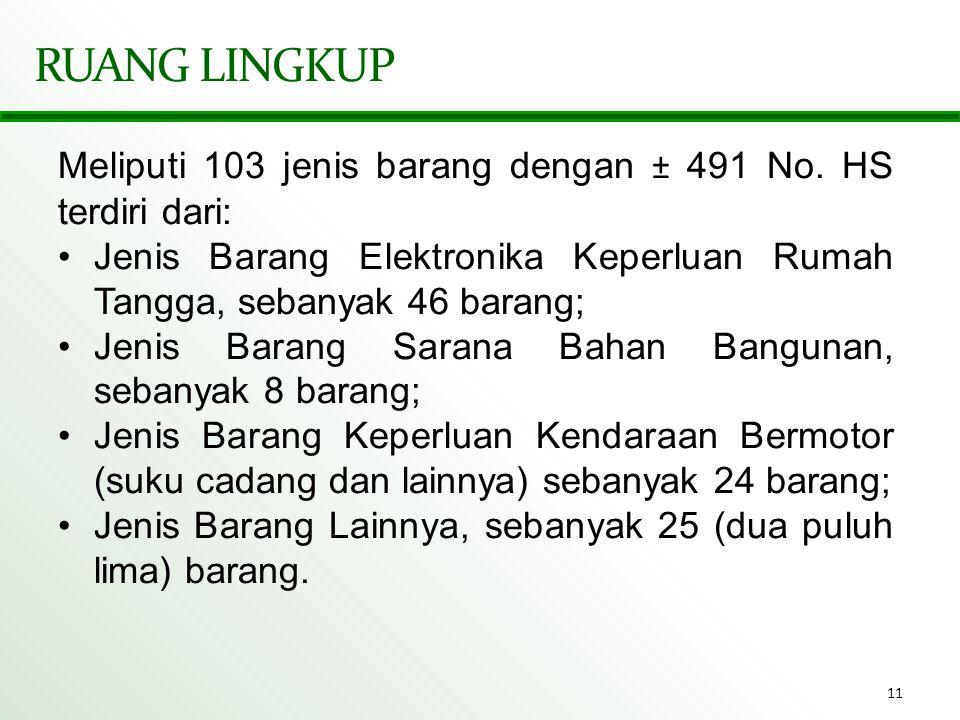 11 RUANG LINGKUP Meliputi 103 jenis barang dengan ± 491 No. HS terdiri dari: •Jenis Barang Elektronika Keperluan Rumah Tangga, sebanyak 46 barang; •Je