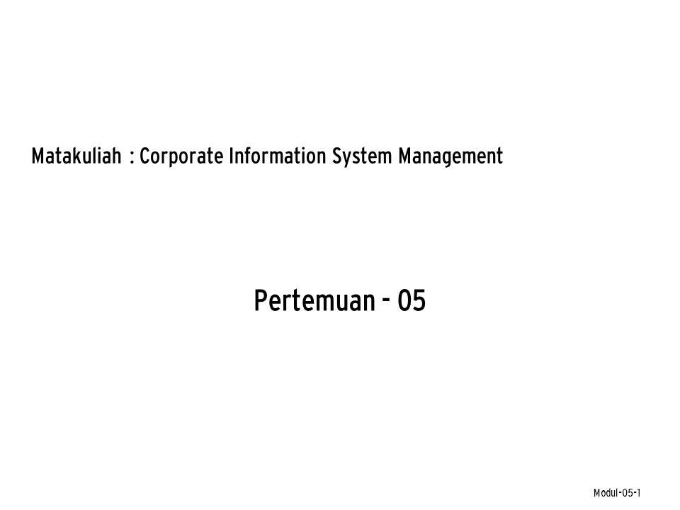 Pertemuan - 05 Matakuliah: Corporate Information System Management Modul-05-1