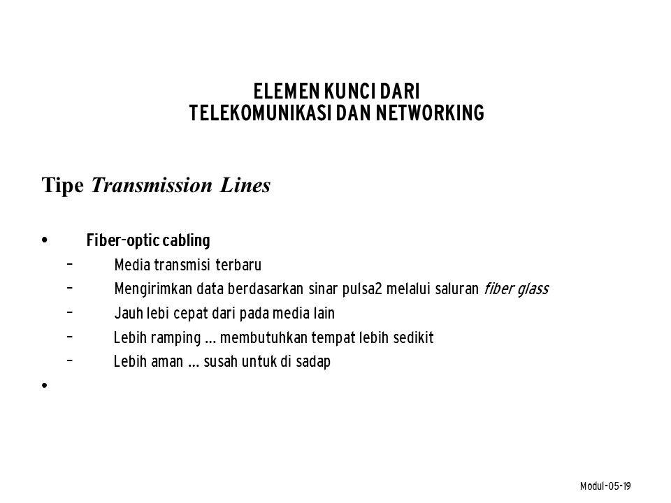 Modul-05-19 ELEMEN KUNCI DARI TELEKOMUNIKASI DAN NETWORKING Tipe Transmission Lines • Fiber-optic cabling – Media transmisi terbaru – Mengirimkan data