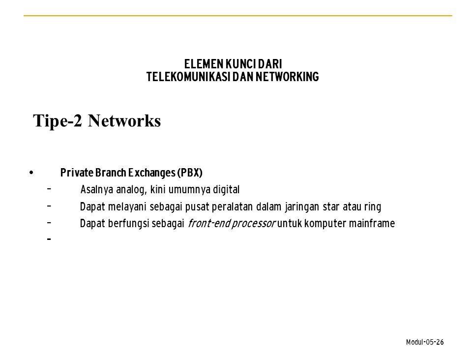 Modul-05-26 ELEMEN KUNCI DARI TELEKOMUNIKASI DAN NETWORKING Tipe-2 Networks • Private Branch Exchanges (PBX) – Asalnya analog, kini umumnya digital –