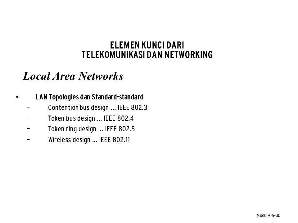 Modul-05-30 ELEMEN KUNCI DARI TELEKOMUNIKASI DAN NETWORKING • LAN Topologies dan Standard-standard – Contention bus design … IEEE 802.3 – Token bus de