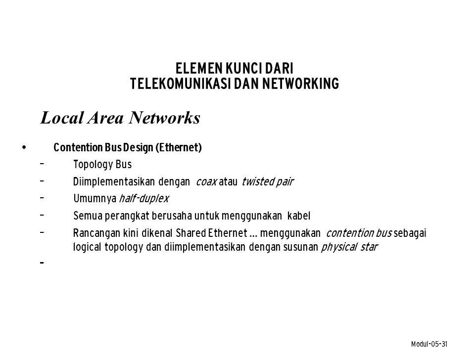 Modul-05-31 ELEMEN KUNCI DARI TELEKOMUNIKASI DAN NETWORKING Local Area Networks • Contention Bus Design (Ethernet) – Topology Bus – Diimplementasikan