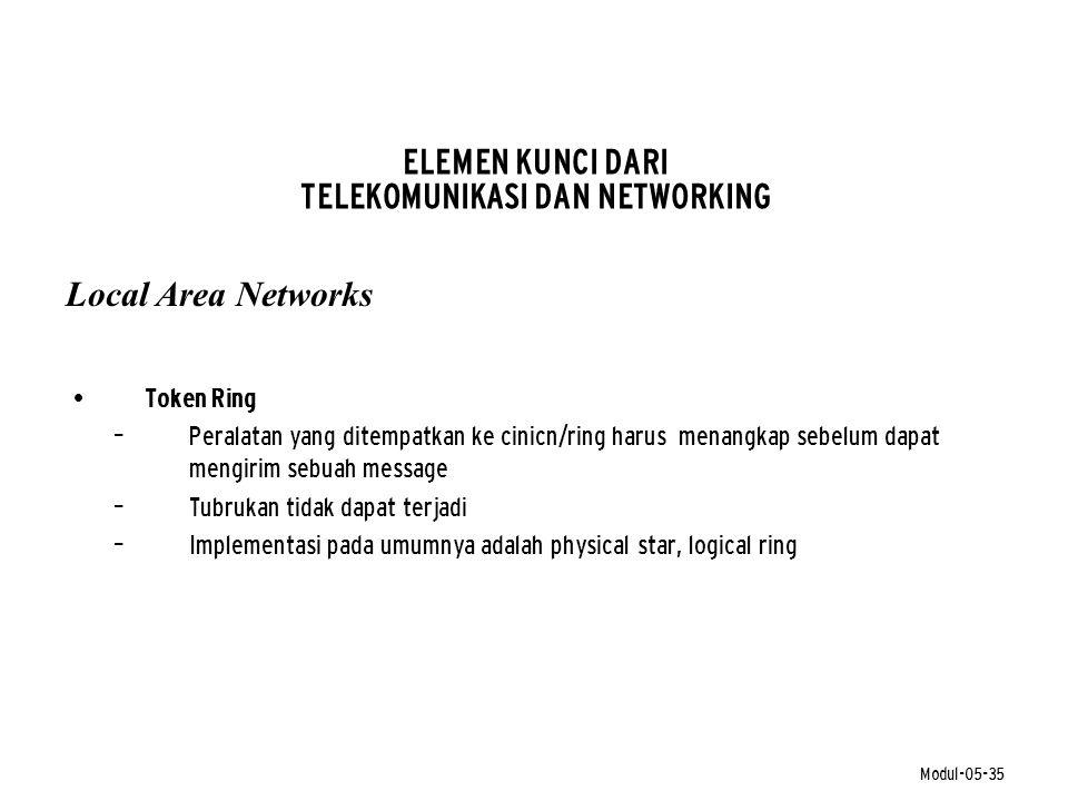 Modul-05-35 ELEMEN KUNCI DARI TELEKOMUNIKASI DAN NETWORKING • Token Ring – Peralatan yang ditempatkan ke cinicn/ring harus menangkap sebelum dapat men