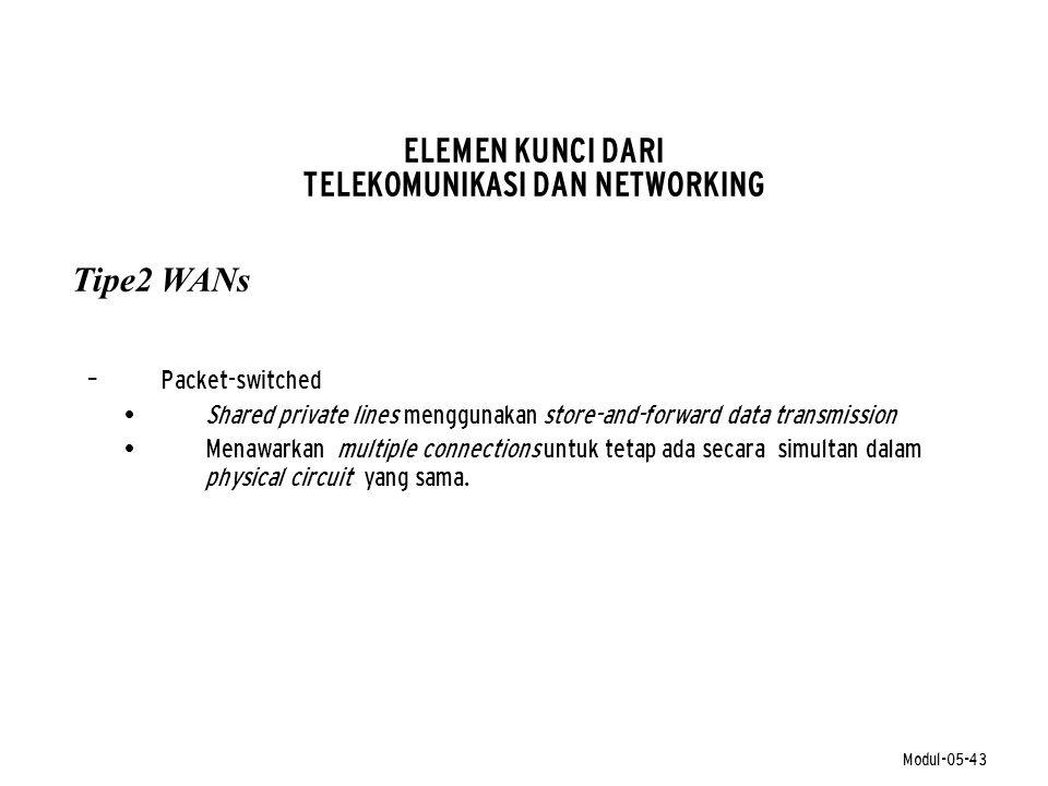 Modul-05-43 ELEMEN KUNCI DARI TELEKOMUNIKASI DAN NETWORKING – Packet-switched • Shared private lines menggunakan store-and-forward data transmission •