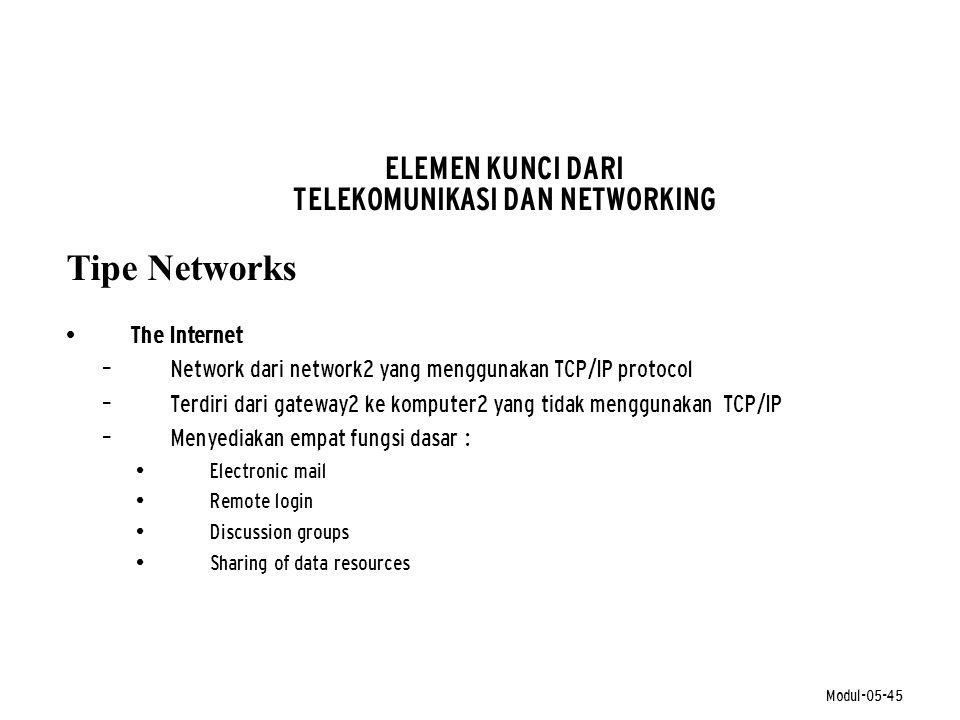 Modul-05-45 ELEMEN KUNCI DARI TELEKOMUNIKASI DAN NETWORKING Tipe Networks • The Internet – Network dari network2 yang menggunakan TCP/IP protocol – Te