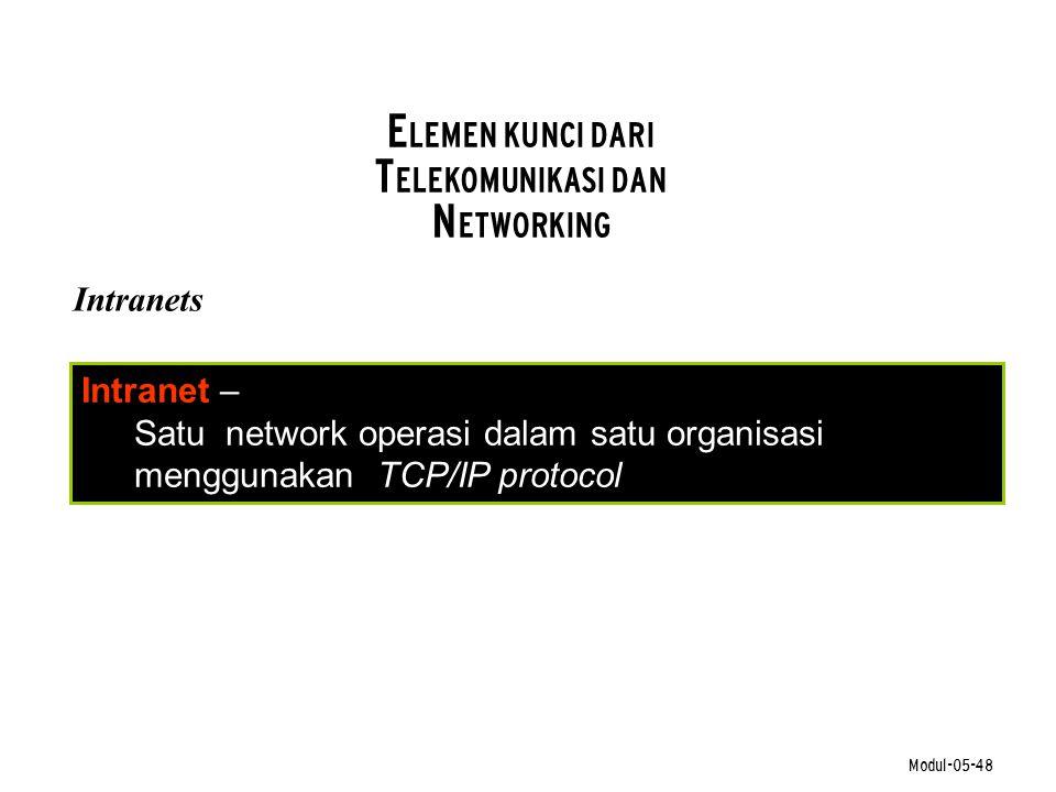 Modul-05-48 E LEMEN KUNCI DARI T ELEKOMUNIKASI DAN N ETWORKING Intranets Intranet – Satu network operasi dalam satu organisasi menggunakan TCP/IP prot