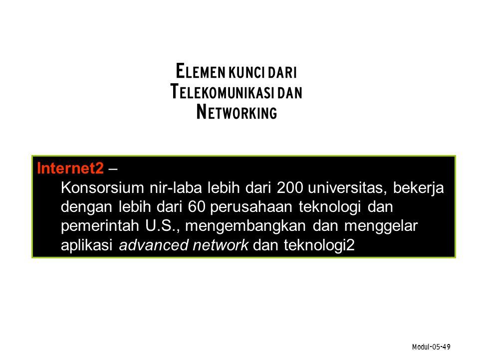 Modul-05-49 E LEMEN KUNCI DARI T ELEKOMUNIKASI DAN N ETWORKING Internet2 – Konsorsium nir-laba lebih dari 200 universitas, bekerja dengan lebih dari 6