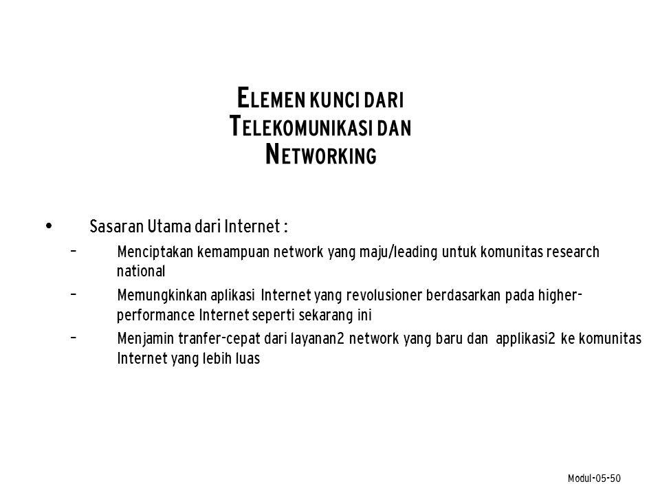 Modul-05-50 E LEMEN KUNCI DARI T ELEKOMUNIKASI DAN N ETWORKING • Sasaran Utama dari Internet : – Menciptakan kemampuan network yang maju/leading untuk