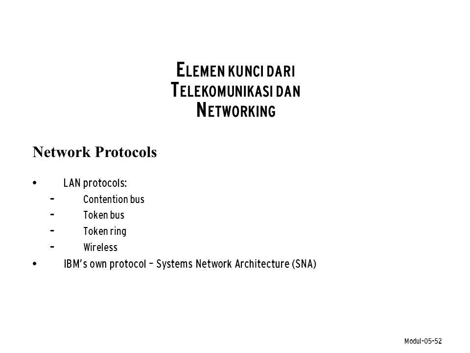 Modul-05-52 E LEMEN KUNCI DARI T ELEKOMUNIKASI DAN N ETWORKING • LAN protocols: – Contention bus – Token bus – Token ring – Wireless • IBM's own proto