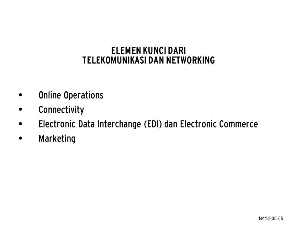 Modul-05-55 ELEMEN KUNCI DARI TELEKOMUNIKASI DAN NETWORKING • Online Operations • Connectivity • Electronic Data Interchange (EDI) dan Electronic Comm