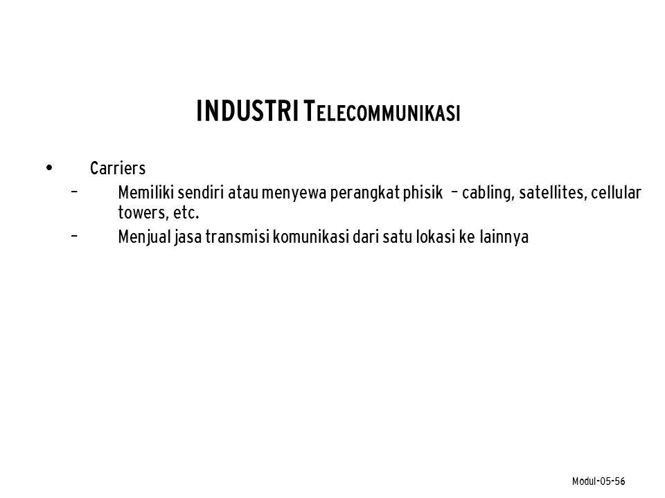 Modul-05-56 INDUSTRI T ELECOMMUNIKASI • Carriers – Memiliki sendiri atau menyewa perangkat phisik – cabling, satellites, cellular towers, etc. – Menju
