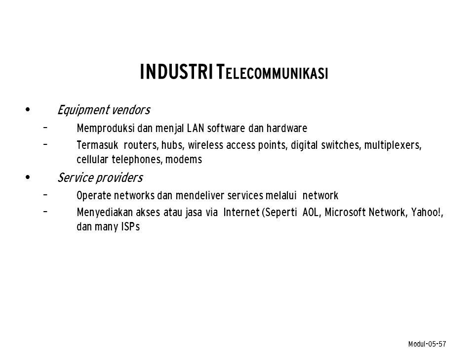 Modul-05-57 INDUSTRI T ELECOMMUNIKASI • Equipment vendors – Memproduksi dan menjal LAN software dan hardware – Termasuk routers, hubs, wireless access