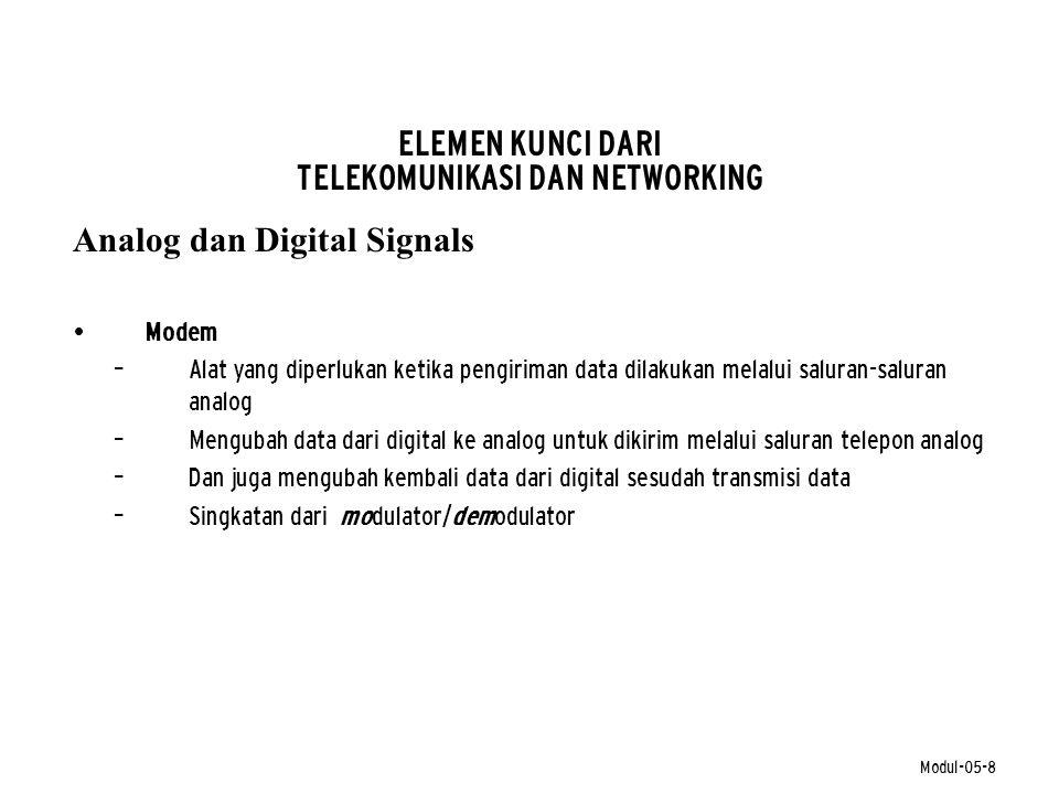 Modul-05-8 ELEMEN KUNCI DARI TELEKOMUNIKASI DAN NETWORKING Analog dan Digital Signals • Modem – Alat yang diperlukan ketika pengiriman data dilakukan