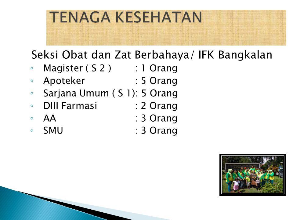 Seksi Obat dan Zat Berbahaya/ IFK Bangkalan ◦ Magister ( S 2 ) : 1 Orang ◦ Apoteker: 5 Orang ◦ Sarjana Umum ( S 1): 5 Orang ◦ DIII Farmasi: 2 Orang ◦