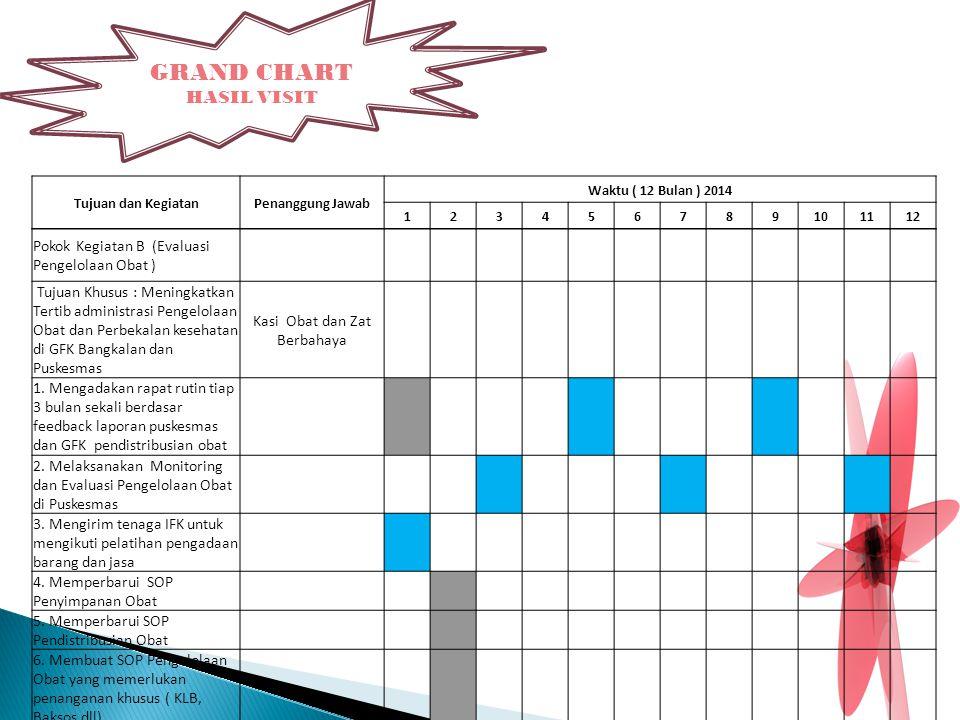 GRAND CHART HASIL VISIT Tujuan dan KegiatanPenanggung Jawab Waktu ( 12 Bulan ) 2014 123456789101112 Pokok Kegiatan B (Evaluasi Pengelolaan Obat ) Tuju