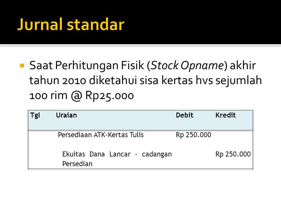  Saat Perhitungan Fisik (Stock Opname) akhir tahun 2010 diketahui sisa kertas hvs sejumlah 100 rim @ Rp25.000