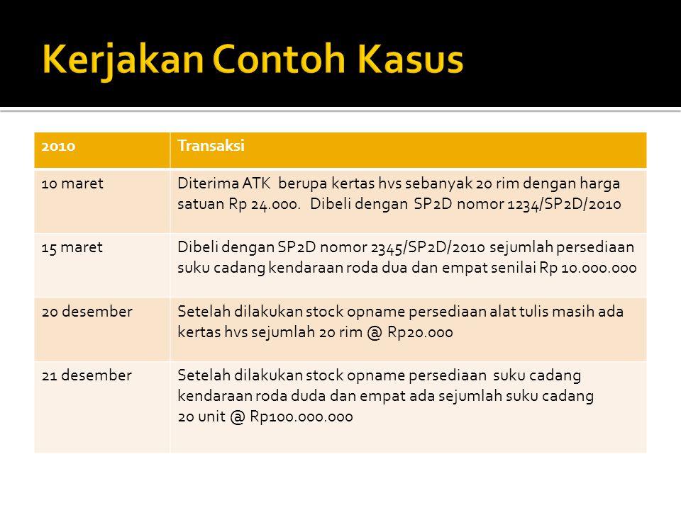 2010Transaksi 10 maretDiterima ATK berupa kertas hvs sebanyak 20 rim dengan harga satuan Rp 24.000. Dibeli dengan SP2D nomor 1234/SP2D/2010 15 maretDi