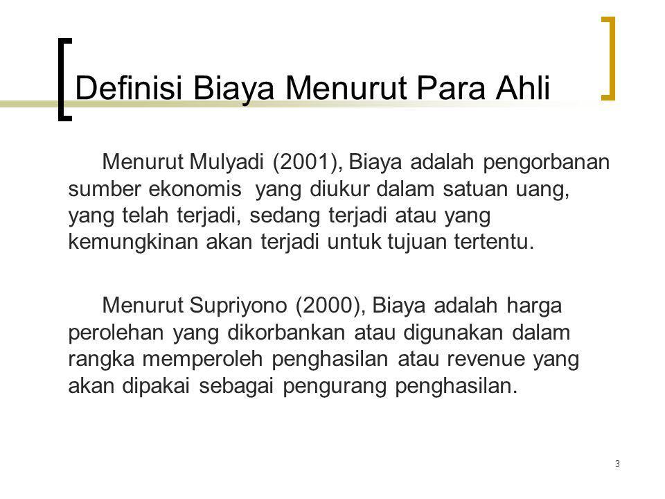 Definisi Biaya Menurut Para Ahli Menurut Mulyadi (2001), Biaya adalah pengorbanan sumber ekonomis yang diukur dalam satuan uang, yang telah terjadi, s