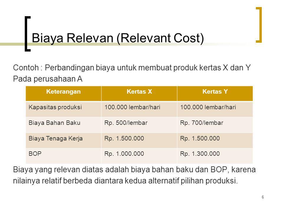 Biaya Relevan (Relevant Cost) Contoh : Perbandingan biaya untuk membuat produk kertas X dan Y Pada perusahaan A Biaya yang relevan diatas adalah biaya