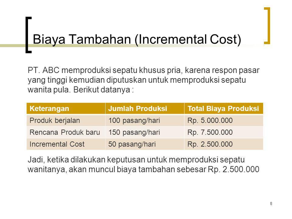Biaya Tambahan (Incremental Cost) PT. ABC memproduksi sepatu khusus pria, karena respon pasar yang tinggi kemudian diputuskan untuk memproduksi sepatu