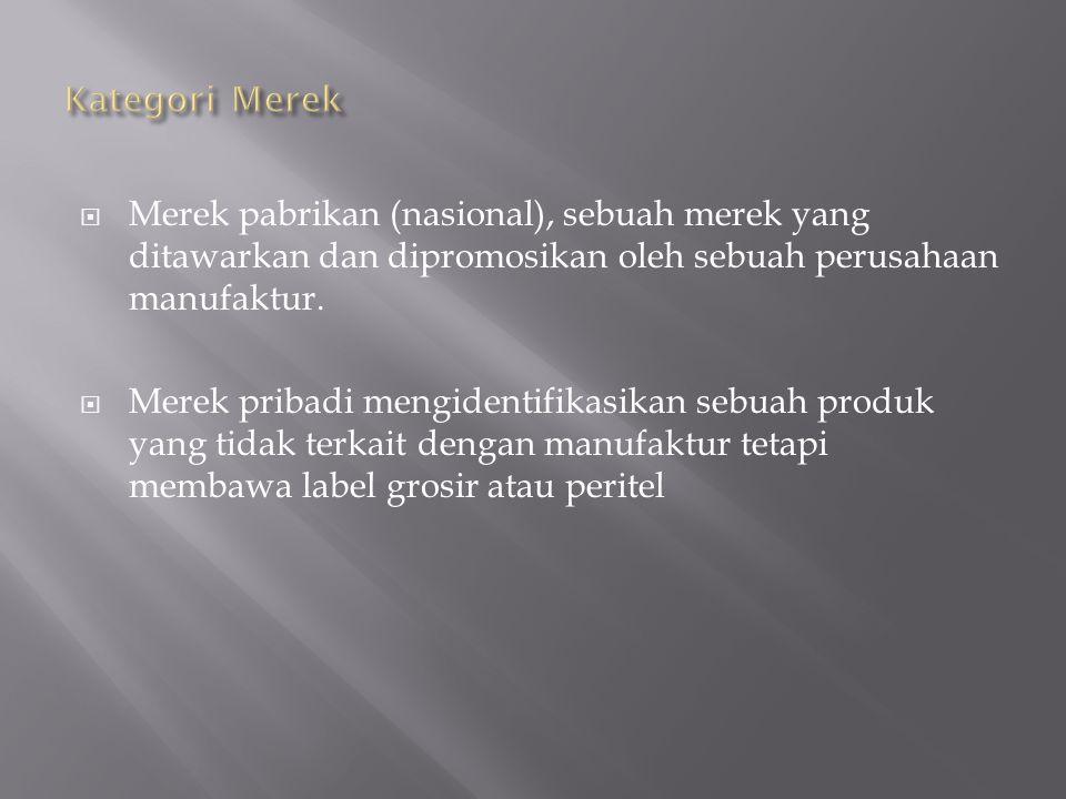  Merek pabrikan (nasional), sebuah merek yang ditawarkan dan dipromosikan oleh sebuah perusahaan manufaktur.