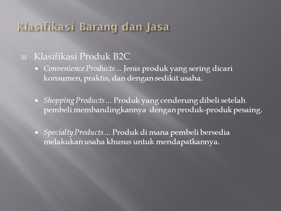 Klasifikasi Produk B2C  Convenience Products...
