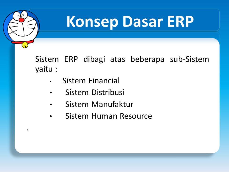 Konsep Dasar ERP Sistem ERP dibagi atas beberapa sub-Sistem yaitu : • Sistem Financial • Sistem Distribusi • Sistem Manufaktur • Sistem Human Resource
