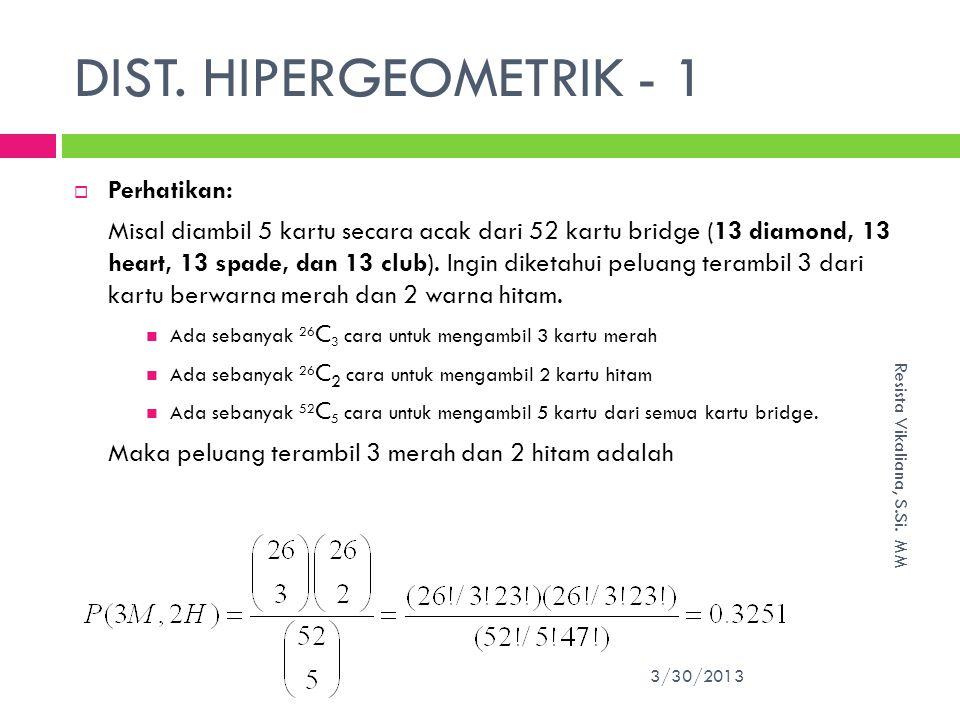 DIST.HIPERGEOMETRIK - 1 3/30/2013 Resista Vikaliana, S.Si.