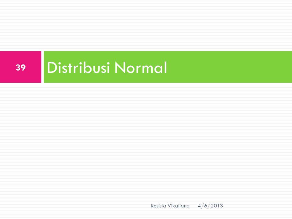 Distribusi Normal 4/6/2013 39 Resista Vikaliana