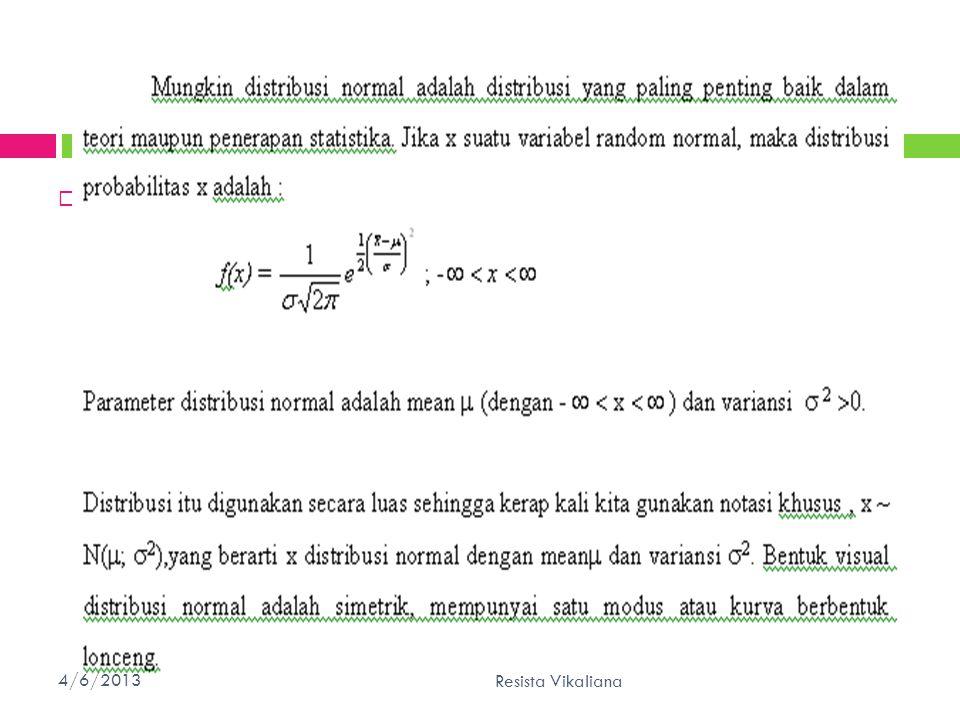  1. Distribusi Normal 4/6/201340 Resista Vikaliana