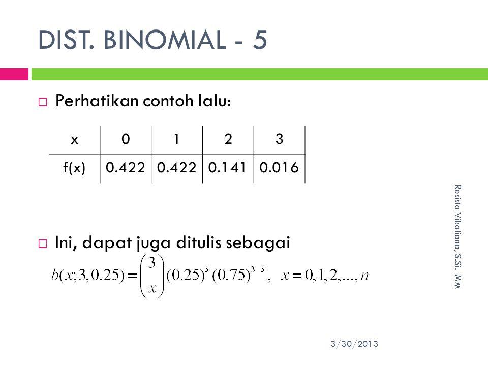 DIST.BINOMIAL - 5 3/30/2013 Resista Vikaliana, S.Si.