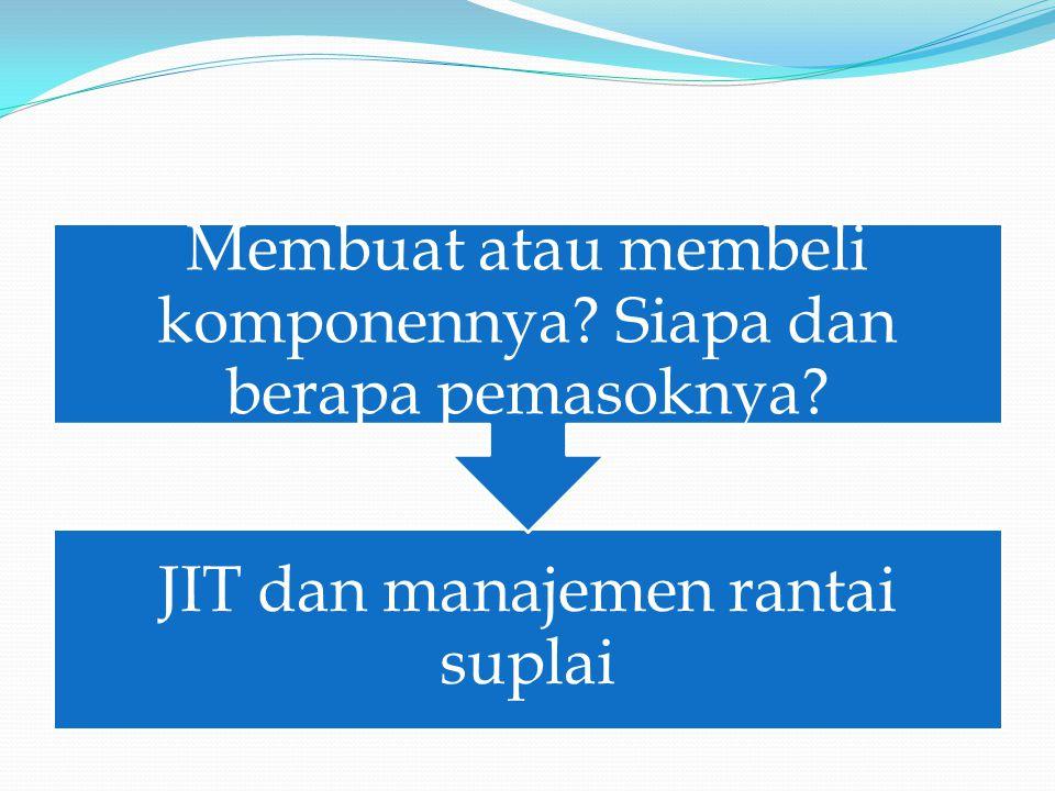 JIT dan manajemen rantai suplai Membuat atau membeli komponennya Siapa dan berapa pemasoknya