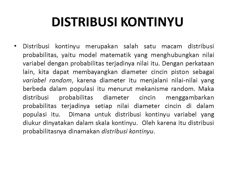 DISTRIBUSI KONTINYU • Distribusi kontinyu merupakan salah satu macam distribusi probabilitas, yaitu model matematik yang menghubungkan nilai variabel dengan probabilitas terjadinya nilai itu.